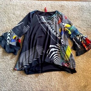 IC by Connie K Black Rainbow Flutter Sleeve Blouse